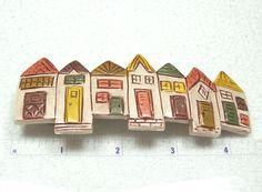Row Houses Handmade Polymer Clay Barrette by MyStudio91 on Etsy