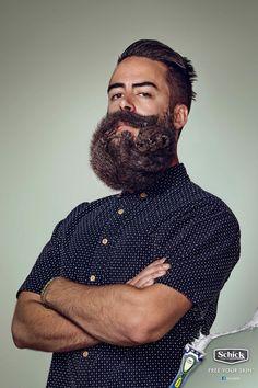 """Бренд """"Schick"""" - известная торговая марка товаров для бритья и средств личной гигиены выпустила оригинальный рекламный плакат, на котором борода мужчины предстала в виде забавного пушистого зверька. Теперь благодаря инновационным бритвенным конструкциям от """"Schick"""" можно выразить себя,сделав из своей бороды произведение искусства. - Host My Pics"""