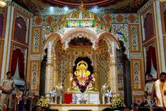 Dagdusheth Ganpati, Ganpati Festival, Festival Decorations, Set Design, Wall Murals, Festivals, Temple, Projects To Try, Fair Grounds