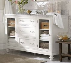 Classic Modular Single Wide Sink Console with Drawers & Glass Doors #potterybarn
