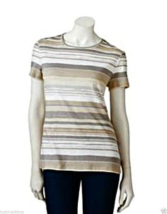 Women's Croft & Barrow Essential Comfortable Shades of Brown Striped Tee - Sz Sm - $9.99 - Re-list April 22, 2014 - #FreeShipping