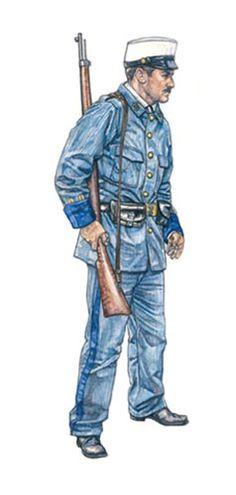 Marinero español, Cuerpo de Infantería de Marina, 1898.