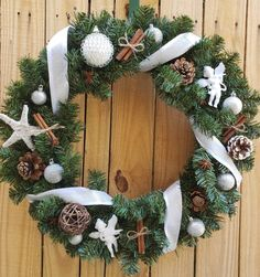 Silver and White Christmas Wreath Christmas Wreath Front Door Wreath with Angels Natural Wreath Evergreen Wreath Holiday Wreaths Pinecone Natural Christmas, Christmas Love, Christmas Angels, Christmas Wreaths For Front Door, Holiday Wreaths, Winter Wreaths, Holiday Gifts, Decor Scandinavian, Country Wreaths