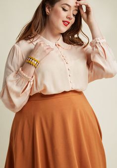 Ladylike Button-Up Top in Blush Fat Girl Fashion, Curvy Fashion, Modest Fashion, Plus Fashion, Fashion Quiz, Grunge Outfits, Mode Outfits, Fashion Outfits, Fat Girl Outfits