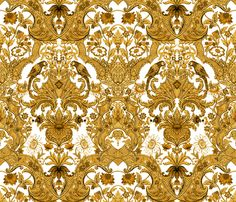 Parrot Damask ~ Gold and White fabric by peacoquettedesigns on Spoonflower - custom fabric