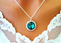 EMERALD Green Necklace Cubic Zirconia Sterling Silver Bridesmaid ...