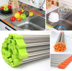 Sink Rack Roll /Stainless Steel Shelf Sink Rack /Portable Folding /Green,Orange #KoreanMade