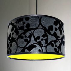 Love Frankie Flocked Skulls Handmade Lampshade With Neon Linings