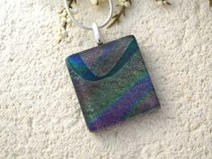Green Purple Mauve Necklace   Dichroic Glass Jewelry  by ccvalenzo