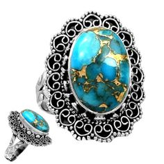 Copper-Blue-Arizona-Turquoise-925-Sterling-Silver-Ring-Jewelry-s-8-SR118942