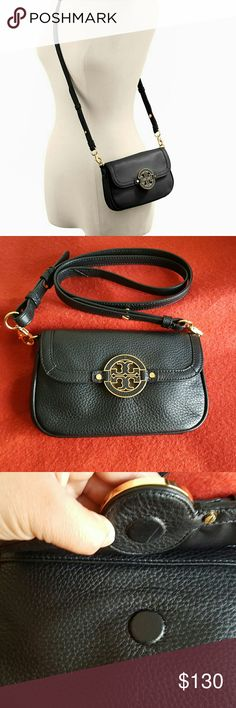"TORY BURCH AMANDA CROSSBODY BAG NICE LEATHER MINI CROSSBODY BAG MSR$288.00 HARD TO FIND. NO DAMAGES. LEATHER IS IN EXCELLENT CONDITION.   Magnetic-snap closure Optional, adjustable strap Three interior card slots Pebbled leather  Approximate Measurements:  8.5"" (L), 5"" (H), 2"" (W) Crossbody stap: 23? drop Tory Burch Bags"