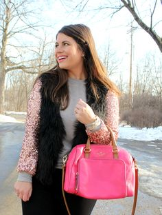 Glam Winter Sequins & Hot Pink Purse