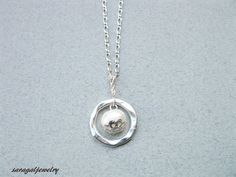 Silver Circle Necklace Freshwater pearl in the by saragaljewelry, $17.60