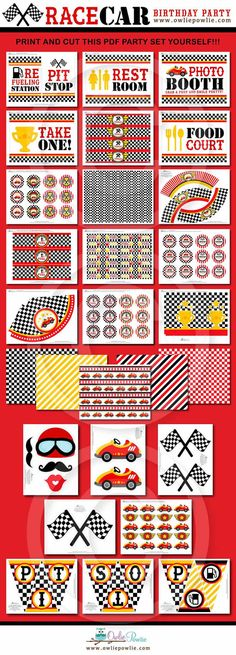 Race Car BIRTHDAY Party Printable Package & by OwliePowlie on Etsy