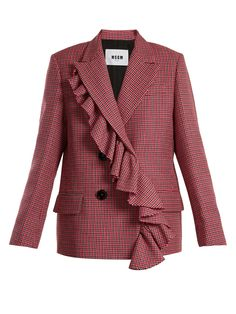 Msgm Asymmetric-ruffled Double-breasted Wool Jacket In Pink Multi Red Blazer, Blazer Jacket, Tailored Jacket, Pink Jacket, Christmas Fashion, Double Breasted, Jackets For Women, Fashion Outfits, How To Wear