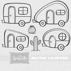 Retro Campers Digital Stamp .