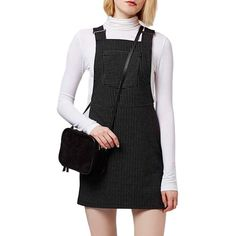 Topshop Pinstripe Pinafore Dress (990 ZAR) ❤ liked on Polyvore featuring dresses, black, woven dress, square neckline dress, black sleeveless dress, black square neck dress and black pinafore dress