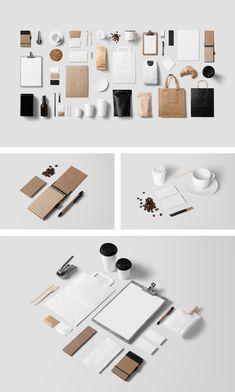Coffee Stationery Mock-Up / 8 PSD / 50 Items - forgraphic™ Design Brochure, Design Logo, Stationery Design, Identity Design, Graphic Design, Coffee Shop Branding, Cafe Branding, Hotel Branding, Restaurant Branding