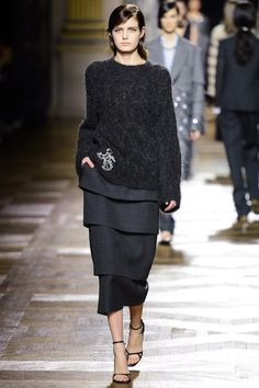 Dries van Noten fall '13: oversized, embellished sweater with tiered midi skirt