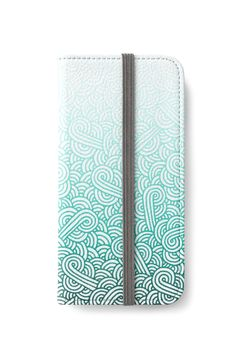 Gradient turquoise blue and white swirls doodles iPhone Wallet by @savousepate on @redbubble #iphonewallet #phonewallet #zentangle #doodles #abstract #modern #graphic #geometric #ombre #gradient #blue #green #mint #cyan #turquoise #teal #caribbean #aquamarine #amazonite
