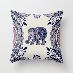 Elephant Pink Throw Pillow by Rskinner1122 | Society6
