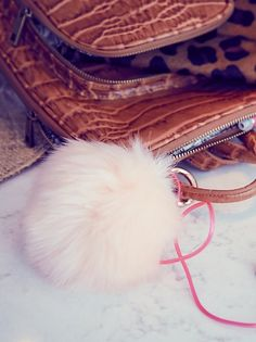 Faux Fur Pompom Bag Charm at Free People Clothing Boutique