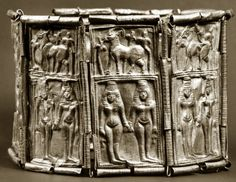 Phoenician crown with paired goddesses and ibexes, the mountain goat that is celebrated in the art of the entire southwestern quadrant of Asia, from Lebanon to Afghanistan and the Hindu Kush.