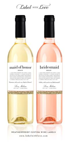 Will You Be My Bridesmaid? Definition Wine Bottle Labels - Faux Glitter Personalized Ask Bridesmaid Gift - Bridesmaid Proposal Maid of Honor #bridesmaids