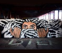 """Zabou & Alaniz , Silenced"""" Teufelsberg, Berlin, Germany - 2015"""