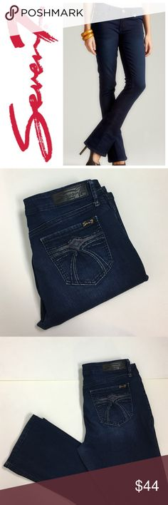 "❄️ Seven7 Rocker Slim Bootcut Jeans Great dark wash jeans in a classic slim bootcut by Seven7 brand. Very soft and stretchy comfortable fabric in a cotton, poly, rayon and spandex blend. Size 8. Approx 9"" rise and 32"" inseam. Excellent condition. Seven7 Jeans Boot Cut"