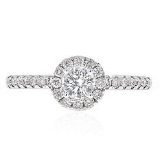 IGI CERTIFIED 3/4 Ctw Diamond Halo Engagement Ring GH/I1 14K White Gold $799.00