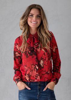 Skjorte rød print C70032 Ladies Shirt LS - 2154 diana red