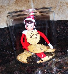 elf eating cookies