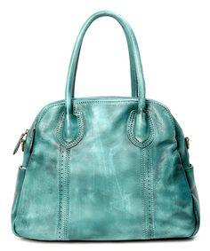 Aqua Vintage Leather Satchel by OLD TREND #zulily #zulilyfinds
