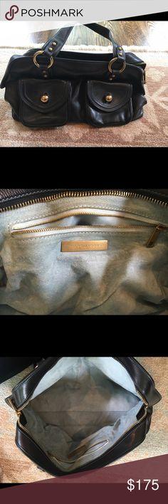Marc Jacobs large black (navy stitching) handbag Gently used large black Marc Jacobs handbag. Inside blue suede. Marc Jacobs Bags Shoulder Bags