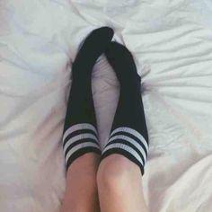 socks black white long cute knee length baseball sportswear sportswear sporty teenagers tumblr cool girl sexy