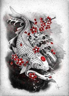 japanese sleeve tattoos black and grey koi * japanese sleeve tattoos black and grey koi Japanese Tattoos For Men, Japanese Tattoo Art, Traditional Japanese Tattoos, Japanese Tattoo Designs, Japanese Sleeve Tattoos, Japanese Art, Japanese Prints, Koi Tattoo Design, Full Sleeve Tattoo Design