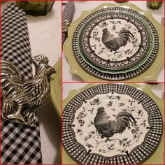Lovely Red Black And White Rooster Dishes