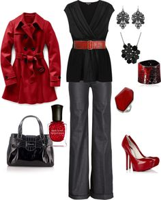 """black and red"" by kristen-344 on Polyvore"
