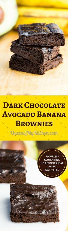 Dark Chocolate Avocado Banana Brownies - Simple to make healthy brownies with rich, dark chocolate flavor. | QueenofMyKitchen.com | #brownies #glutenfree #glutenfreerecipes #dairyfree #paleo #norefinedsugar