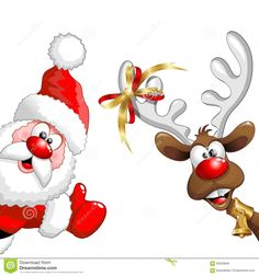 Christmas Reindeer And Santa Fun Cartoons Stock Vector - Image: 62923848