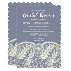 Country Aged Lace Steel Blue Bridal Shower Card - invitations custom unique diy personalize occasions