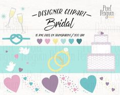 Wedding Clipart Set, PNG Clipart Wedding Ring, Bridal Shower Clipart for Wedding, Champagne Clip Art Wedding Graphic, Wedding Shower Graphic Teal Blue, Pink Yellow, Blue Green, Wedding Knot, Wedding Doves, Wedding Graphics, Wedding Stickers, Planner Inserts, Wedding Crafts