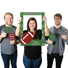 End Zone - Football - Personalized Birthday Party or Baby Shower Photo Booth Picture Frame & Props - Printed on Sturdy Plastic Material | BigDotOfHappiness.com