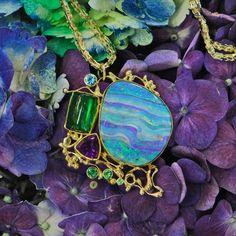Australian Boulder Opal Jennifer Kalled Design http://www.kalledjewelrystudio.com/products/boulder-opal-pendant-great-guana-cay-series