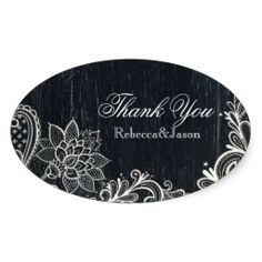Vintage Typography rustic chalkboard thank you Stickers  http://www.zazzle.com/themeweddingboutique*