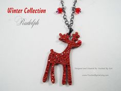 Necklace Christmas Jewelry ~ Rudolph the Red Nose Reindeer, won't you guide my sleigh tonight! Wearing this necklace will remind you of your favorite Christmas show! This is such a cute necklace that will be the talk of all the Christmas Shoppers this year! Visit my shop @ www.TouchedByGod.etsy.com!