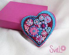 Happy heart.Deep Sky Blue Pink Fireworks.Felt by SvitLoShop