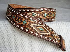 Tony Lama Belt (Men's Pre-owned Wide Western Leather Belt, Vintage Handpainted Eagle Diamond Design)