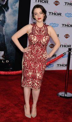 Kat Dennings - Thor The Dark World Premiere in LA 4 November 2013 in Naeem Khan Spring 2014 Dress, Edie Parker Clutch